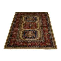 Tribal Design Super Kazak Hand Knotted 100% Wool 3'x4' Oriental Rug SH16707 - This collections consists of well known classical southwestern designs like Kazaks, Serapis, Herizs, Mamluks, Kilims, and Bokaras. These tribal motifs are very popular down in the South and especially out west.