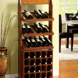 Furniture of America - Furniture of America Sebastian Antique Oak 38-bottle Wine Rack - Showcase your collection in classical style with this Sebastian hardwood oak wine rack that features three top racks to display your favorite bottles and bottom slots for extra storage. The weathered finish gives the piece an eye-pleasing vintage look.