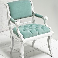 Edward Chair, Aqua Velvet