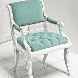 Edward Chair, Aqua Velvet - This chair is versatile in size, so you can use it at a dining table or in a living area. I love the tufted seat and white wood frame, and the aqua color is elegant and refreshing.
