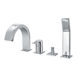 WS Bath Collections - WS Bath Collections Ringo Bath Mixer in Polished Chrome - Five Hole Deck-moint Bath Mixer with Diverter and Pull Out Hand Shower Set