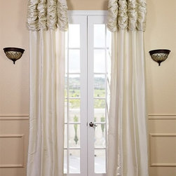 Ruched Pearl White Thai Silk Curtain - We've taken our popular Thai Silk panels and added a ruched header valance creating the most luxurious, over the top style in window treatments out there. This style was designed and meant to be stationary and used as decorative panels to frame out your window.