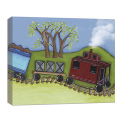 "Doodlefish - Caboose Canvas Art - This Doodlefish stretched Canvas Giclee of a train caboose, boxcar and the other half of a car hauling dirt. Unframed, this pieces is a stretched canvas that is gallery-wrapped around thick museum quality wood.  Framed, it is mounted and framed in your choice of frame colors. The finished size with the frame is 24"" x 20""."