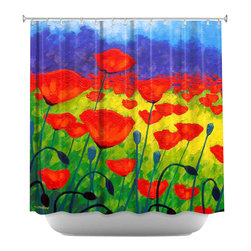 DiaNoche Designs - Shower Curtain Artistic - Poppy Corner II - DiaNoche Designs works with artists from around the world to bring unique, artistic products to decorate all aspects of your home.  Our designer Shower Curtains will be the talk of every guest to visit your bathroom!  Our Shower Curtains have Sewn reinforced holes for curtain rings, Shower Curtain Rings Not Included.  Dye Sublimation printing adheres the ink to the material for long life and durability. Machine Wash upon arrival for maximum softness. Made in USA.  Shower Curtain Rings Not Included.