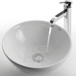Kraus - White Round Ceramic Sink and Soap Dispenser Ramus Faucet - Finish: Satin nickel