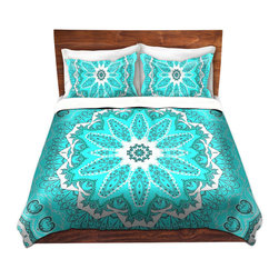 DiaNoche Designs - Duvet Cover Twill - Fairy Dream Mandala Fresh Mint - Lightweight and soft brushed twill Duvet Cover sizes Twin, Queen, King.  SHAMS NOT INCLUDED.  This duvet is designed to wash upon arrival for maximum softness.   Each duvet starts by looming the fabric and cutting to the size ordered.  The Image is printed and your Duvet Cover is meticulously sewn together with ties in each corner and a concealed zip closure.  All in the USA!!  Poly top with a Cotton Poly underside.  Dye Sublimation printing permanently adheres the ink to the material for long life and durability. Printed top, cream colored bottom, Machine Washable, Product may vary slightly from image.