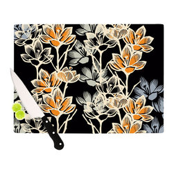 """Kess InHouse - Gill Eggleston """"Crocus"""" Cutting Board (11.5"""" x 15.75"""") - These sturdy tempered glass cutting boards will make everything you chop look like a Dutch painting. Perfect the art of cooking with your KESS InHouse unique art cutting board. Go for patterns or painted, either way this non-skid, dishwasher safe cutting board is perfect for preparing any artistic dinner or serving. Cut, chop, serve or frame, all of these unique cutting boards are gorgeous."""