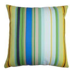 "The Pillow Collection - Laird Stripes Pillow Blue White - This decor pillow lends a modern twist to your home with its stripe pattern. This square pillow features a striking stripe pattern in shades of blue, green, white, orange, brown and white. Place this chic accent pillow on top of your outdoor furniture to add comfort and texture. Made of long lasting and weather-resistant materials, this 18"" pillow is great for outdoor use. Hidden zipper closure for easy cover removal.  Knife edge finish on all four sides.  Reversible pillow with the same fabric on the back side.  Spot cleaning suggested."