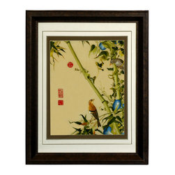 China Furniture and Arts - Bird and Bamboo Silk Embroidery Frame - Silk embroidery is a Chinese art form with origins dating back millennia. With each piece containing thousands of tiny threads, a composition requires an extremely high level of skill to create. This particular embroidery features two birds perched atop bamboo branches. The reflective nature of the silk thread allows the lively colors to stand out beautifully in light. Museum quality  framing makes this piece ready to hang and make a statement on any wall it adorns.