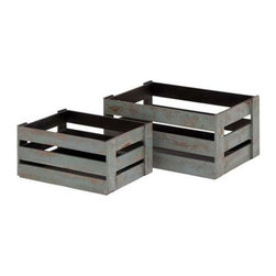 Woodland Imports - Woodland Imports Solid Wood Wine Crates - Set of 2 - Speckled Gray Multicolor - - Shop for Storage and Organizers from Hayneedle.com! Stow your favorite wines in chic rustic style with the Woodland Imports Solid Wood Wine Crates - Set of 2 - Speckled Gray. This sturdy set of wine crates can be carried outdoors for picnics and barbecues or set inside for a country-style display. Crafted of solid hardwood this set is finished in weathered gray.