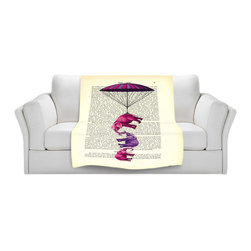 DiaNoche Designs - Fleece Throw Blanket by Madame Memento - Elephants Parachute - Original Artwork printed to an ultra soft fleece Blanket for a unique look and feel of your living room couch or bedroom space.  DiaNoche Designs uses images from artists all over the world to create Illuminated art, Canvas Art, Sheets, Pillows, Duvets, Blankets and many other items that you can print to.  Every purchase supports an artist!