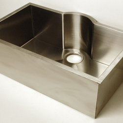 Rachiele Undermount Stainless Steel Kitchen Sink - This is one of our many patented sink designs. It features a partially offeset drain which willl allow you to place a large cookie sheet  in the sink and still have access to the drain.