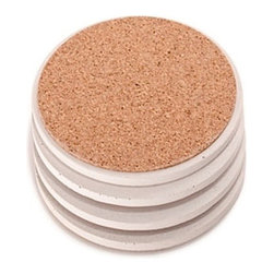 Culinarium - Concrete Coasters, White, Round - SET OF 4-All of our items are one of a kind. Each coaster set is cast in a hand made mold for about a week. Each is then hand burnished with several coats of durable carnauba wax.