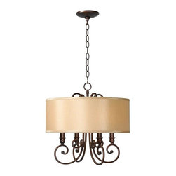 World Imports - Rue Maison 4-Lights Iron Chandelier with Shades, Euro Bronze - Uses 4 candelabra bulbs, 60 watts (not included)