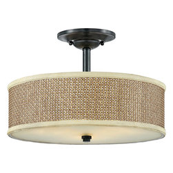 Quoizel - Quoizel ZE1717K Zen Contemporary Semi-Flush Mount Ceiling Light - This serene design is appropriate for almost any room, and brings an natural, exotic feeling into your home.  The tan rattan shades are tigtly woven and surrounded with coordinating trim, and the monochromatic color palette keeps the design tasteful and versatile.