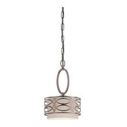 Nuvo - 1 Light - Mini Pendant - Khaki Fabric Shade - Khaki Fabric Shade Shade. UL Dry Rated. Incandescent . Color/Finish: Hazel Bronze. Max wattage: 60w. Bulb(s) not included. 8.875 in. W x 14.75 in. H