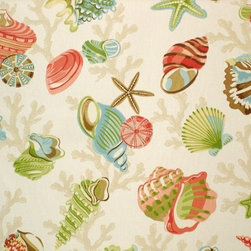 Seashell Fabric StarFish Sea Stars Coral Funky, Standard Cut - A seashell fabric with starfish, sea stars, and coral! This rather funky fabric has it all: color, charm.