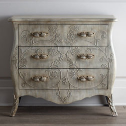 Horchow - Mimosa Three-Drawer Chest - Elegant and sophisticated bombe chest features carved laurel scrollwork on the front and sides with complementary scroll handles on the drawers. Made of wood composite with cast composite ornamentation. Hand painted in soft layers of gray and silver w...