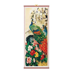Oriental-Décor - Rainbow Peacock Chinese Scroll - Every picture tells a story. In this case, the image of a peacock symbolizes confidence and pride. Which is pretty much what you'll feel having this magnificent scroll hanging in your home. The incredible detail and richness of color of this image is not for the timid.