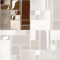 "Mosaic Decor - Brown Metal Glass Modern Kitchen Mosaic Backsplash Tile, 6"" X 6"" Sample - Brown Metal Glass Modern Kitchen Mosaic Backsplash Tile"