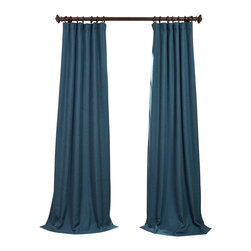 "Exclusive Fabrics & Furnishings, LLC - Spruce Heavy Faux Linen Curtain - 100% Polyester. 3"" Pole Pocket with Hook Belt & Back Tabs. Unlined. Imported. Weighted Hem. Dry Clean Only."