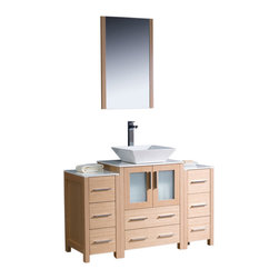 """Fresca - 48"""" Light Oak Vanity w/ 2 Side Cabinets & Vessel S Soana Brushed Nickel Faucet - Fresca is pleased to usher in a new age of customization with the introduction of its Torino line.  The frosted glass panels of the doors balance out the sleek and modern lines of Torino, making it fit perfectly in eithertown or country decor."""