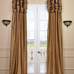 Ruched Brown Gold Thai Silk Curtain - We've taken our popular Thai Silk panels and added a ruched header valance creating the most luxurious, over the top style in window treatments out there. This style was designed and meant to be stationary and used as decorative panels to frame out your window.