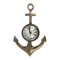 """Handcrafted Model Ships - Antique Brass Anchor Wall Clock 11"""" - Anchor Decoration - The Antique Brass Anchor Wall Clock 11"""" is the nautical clock to make a statement in your home. This nautical clock is fully functional and is ideal for those seeking an anchor decoration. This anchor clock is sturdy, durable, and is easily mounted to the wall."""