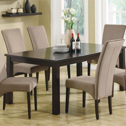 Monarch Specialties - 5-Pc Dining Set in Dark Espresso Finish - Includes table and four side chairs. Table with rectangular shape veneer top. Tapered legs. Side chair with brown piping. High sleek curved back. Padded seat covered in soft and durable velvet fabric in tan. Square legs. Table: 78 in. L x 40 in. W x 30 in. H (123 lbs.). Chair: 24 in. W x 18 in. D x 41.5 in. H (32 lbs.)