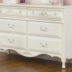 American Woodcrafters - Summerset Double Dresser in White Finish w Pa - The Summerset double dresser for girls is another must-have piece in this collection. It's beautifully appointed with painted floral designs that rest gently on a white background. Bail and ring handles complete the look on beveled and curved drawer fronts. Summerset Collection. 6 Drawers. Solid wood drawer sides and backs. Veneer drawer bottoms. Drawer fronts are reconstituted MDF wood fibers. Center guided drawers, metal to metal and plastic to plastic with positive drawer stops. Solid wood and wood veneer construction. 1-Year manufacturer's warranty. 52 in. W x 18.5 in. D x 35.75 in. H (140.60 lbs.)