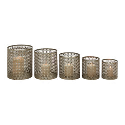 Set of 5 Alluring and Unique Styled Metal Candle Holder - Description: