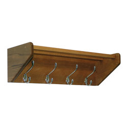 Wooden Mallet - Hat and Coat Rack w 4 Hooks - Includes pre-drilling and mounting hardware for installation. Sturdy nickel hooks holds coats, hats, umbrellas and more. Two oak top bars mortised into the sides to easily support hats, purses or briefcases. Frame made from solid oak for extra durability. Hooks made from metal. Medium oak finish. Made in USA. No assembly required. 24.75 in. W x 9 in. D x 8.5 in. H (13 lbs.). WarrantyThese attractive coat racks are stylish enough to match almost any decor.