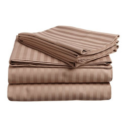 300 Thread Count Egyptian Cotton Full Taupe Stripe Sheet Set - 300 Thread Count Egyptian Cotton Full Taupe Stripe Sheet Set
