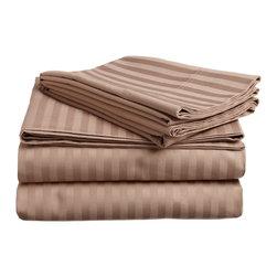 300 Thread Count Egyptian Cotton Full Taupe Stripe Sheet Set - 300 Thread Count Egyptian Cotton Full Taupe Stripe Sheet Set