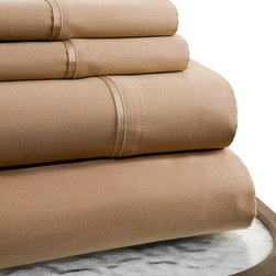 Trade Linker International lnc. - Taupe 600-Thread Count Supima Cotton Sheet Set - Woven from supima cotton in an extra long staple, this 600-thread count sheet set offers extreme comfort and superior durability. �� Includes flat sheet, fitted sheet and two pillowcases Fits mattresses up to 18'' deep 100% supima cotton 600-thread count Machine wash cold; tumble dry low Imported