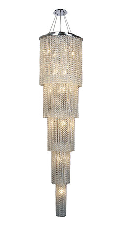 """Worldwide Lighting - Prism 19 Light Chrome Finish Clear Crystal Chandelier 16"""" D x 66"""" H Firve 5 Tier - This stunning 19-light Five Tier Crystal Chandelier only uses the best quality material and workmanship ensuring a beautiful heirloom quality piece. Featuring a radiant chrome finish and finely cut premium grade clear crystals with a lead content of 30%, this elegant chandelier will give any room sparkle and glamour. Dual-mount option for flush or suspension. Worldwide Lighting Corporation is a privately owned manufacturer of high quality crystal chandeliers, pendants, surface mounts, sconces and custom decorative lighting products for the residential, hospitality and commercial building markets. Our high quality crystals meet all standards of perfection, possessing lead oxide of 30% that is above industry standards and can be seen in prestigious homes, hotels, restaurants, casinos, and churches across the country. Our mission is to enhance your lighting needs with exceptional quality fixtures at a reasonable price."""