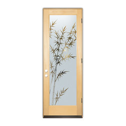 Sans Soucie Art Glass (door frame material T.M. Cobb) - Glass Front Entry Door Sans Soucie Art Glass Bamboo Forest - Sans Soucie Art Glass Front Door with Sandblast Etched Glass Design. Get the privacy you need without blocking light, thru beautiful works of etched glass art by Sans Soucie!  This glass is semi-private.  (Photo is view from outside the home or building.) Door material will be unfinished, ready for paint or stain.  Bronze Sill, Sweep and Hinges. Available in other finishes, sizes, swing directions and door materials.  Dual Pane Tempered Safety Glass.  Cleaning is the same as regular clear glass. Use glass cleaner and a soft cloth.