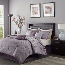 Madison Park - Madison Park Biloxi 7 Piece Comforter Set - To update your space to a modern look, try the Madison Park Biloxi Collection. Made from polyester jacquard, this unique design is woven to look like sequins. The design has an ombree affect looking heavy in the center of the bed and spreading out towards the top and bottom of the comforter. Two matching shams share this ombre design. Three decorative pillows use unique embroidery and fabric manipulation for the perfect new look for your space. Comforter & Sham: 100% polyester jacquard, 100% polyester brushed fabric reverse, 270g/m2 poly fill Bedskirt: 100% polyoni drop, 100% polyester platform Pillows: 100% poly shell, polyfill