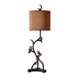 Billy Moon - Billy Moon 29168-1 Three Little Birds Tropical Table Lamp - Metal branches finished in a rustic bronze with heavily antiqued silver details and burnished edges. The round drum shade is made of natural woven bamboo with silkened bronze trim.