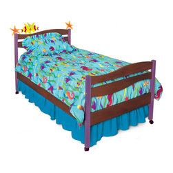 Tropical Seas Twin Bed, Chocolate - Starfish and Kissing fish play on the headboard waves of this quality twin bed, made of solid hardwood finished with chocolate and brightly colored stains. Includes headboard, footboard, rails, mattress slats, 4 sturdy casters, and finials.