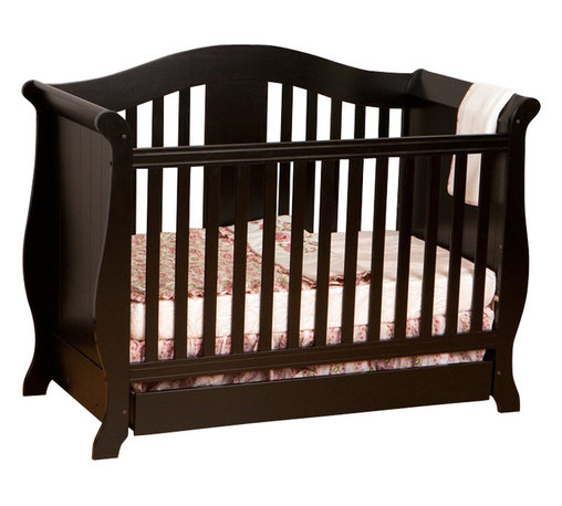 Stork Craft - Stork Craft Vittoria 3-in-1Fixed Side Convertible Crib in Black - Stork Craft - Cribs - 0458722B - The Vittoria 3 in 1 Fixed Side Convertible Crib by Stork Craft offers a classic sleigh design that adds a rich sophistication to the nursery.The extra large bottom drawer allows for ample storage of your child's most precious belongings. It has a well built construction made of attractive solid wood and wood products offered in a variety of beautiful non toxic durable finishes. This crib is not only gorgeous but it is versatile; converting from a standard crib to a daybed and ultimately to a full-size bed complete with headboard and footboard (full size bed rails not included). Set-up this extravagant Vittoria Fixed Side Convertible Crib effortlessly with it's easy to follow directions and extra sturdy stationary side rails. Complete your nursery look by adding complimentary accessories by Stork Craft: a changing table chest dresser or glider and ottoman.