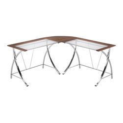 ORE International - 5 ft. Spacious Office Corner Desk - This contemporary and stylish computer desk is designed to adapt to any room or space from the office to your home. With two detachable desks making this item convenience for multipurpose and readily reassemble to fit your needs accordingly. The uniquely designed frame is built with sturdy reinforcement . The chrome finished frame compliments the natural brown composite wood and glass table top  . 64 in. L x 24 in. W x 65 in. H (60 lbs.)