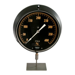 Salvatecture Studio - Large Vintage PSIG Duragauge Mounted On Iron Stand - Here's a period style accent piece that'll look spectacular in your industrial or art-deco themed design. The PSIG Duragauge may be old but it's still full of vintage charm.