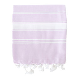Organic Hamam Pestemal - Lavender - This versatile pestemal (traditional Turkish bath towel) has been hand-woven on traditional style looms by families in the South of Turkey. Made from 100% certified organic cotton, it is absorbent, dries quickly and is very light-weight.