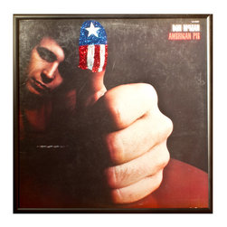 """Glittered Don McLean American Pie Album - Glittered record album. Album is framed in a black 12x12"""" square frame with front and back cover and clips holding the record in place on the back. Album covers are original vintage covers."""