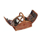 Household Essentials - Willow Picnic Basket Fully Lined, Service for 4, Brown - Our Willow Picnic Basket linen-lining keeps all your plates, silverware, and glasses securely stowed. With buckles keeping your basket securely closed and a sturdy handle for carrying, it is spacious enough for a full meal for four. Perfectly suited for an outing with four, the classic basket design, complete with large carrying handle, opens from the center on two hinged sides. With plates, glasses, silverware, salt & pepper shakers, and a bottle opener secured to the lined basket, your delightful table is invitingly displayed.