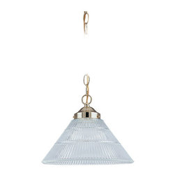 "Sea Gull Lighting - Sea Gull Lighting 6671 Down Lighting Pendant from the Ribbed Glass Collection - One Light Medium size Pendant with Polished Brass Canopy and Chain plus Wide Clear Ribbed GlassOverall Height with Chain: 60"", supplied with 12 feet of wire1 150w Medium Base Required (Not Included)"