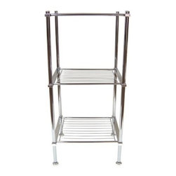 Organize It All - Metro 3 Tier Shelf - Our Metro Three tier shelf works great to fit any bathroom storage need. Simply use the three metal wire shelves for storage of towels, toiletries, or decorative home items. Constructed of a hollow tubed and rectangular metal frame it is sturdy and strong, but at the same time lightweight. Offered in a chrome finish with no tool assembly.