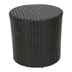 Great Deal Furniture - Overton Outdoor Black Wicker Barrel Side Table - The Overton outdoor wicker barrel side table is stylish and convenient for your outdoor needs. With its contemporary shape, you can place it near your seating area to place snacks and beverages, or even use it as a stand for your garden. Made of environment-friendly synthetic wicker you will find many uses for this table.
