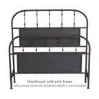 """Mathews & Company - Burlington Headboard - The Burlington Headboard is all about sleek simplicity. This beautifully handcrafted headboard will grace any d̩cor. The headboard features a lovely matte black finish that will accent any color scheme to perfection. Gently rounded corners of the headboard have been built to last, while straight grills are accented with ball-like embellishments to break the monotony. The lovely finish of this headboard boasts the exceptional skill and handwork of the artisans who created lovely headboard. This headboard is classically elegant and will stand the test of time, enduring years and years of use. You will love the look and feel of this piece. This wrought iron headboard exudes timeless grace and elegance and will always work no matter what fashion trend is currently considered """"in"""". Pictured in Black finish."""